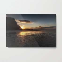 Sunset and wet sand at Worms Head Metal Print