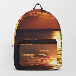 Flaming sky over Sea - Nature at its best Backpack