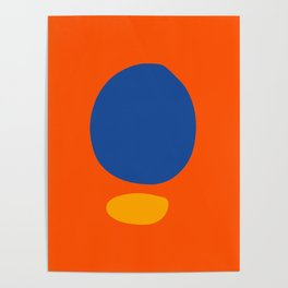 Zen Abstract Minimal Art Organic Shapes Blue and Yellow Poster
