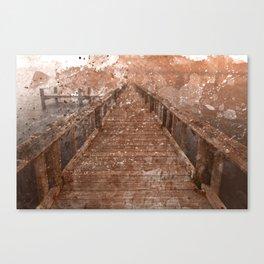 Acrylic Sepia Pier Canvas Print