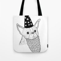 wizard Tote Bags featuring Dog Wizard by Michael C. Hsiung