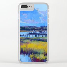 Marsh Painting of Thunderbolt, Georgia at Dawn by Katie Wall Art Clear iPhone Case