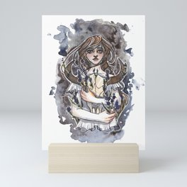 Larkspur Inktober Ink and Watercolor Illustration Mini Art Print