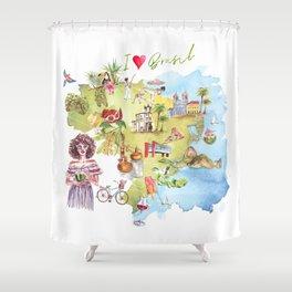 Brasil Map Shower Curtain