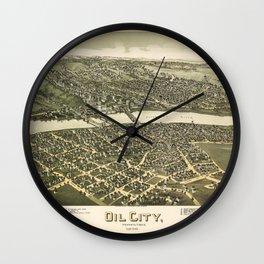 Aerial View of Oil City, Pennsylvania (1896) Wall Clock