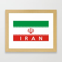 Iran country flag name text Framed Art Print