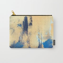 Lemon drop: a minimal, abstract mixed-media piece in yellow and blue Carry-All Pouch