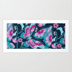 Art Nouveau Butterflies in Navy Art Print