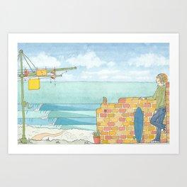Beach in my Backyard - watercolour print 2 Art Print