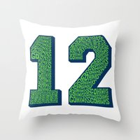 seahawks Throw Pillows featuring Go Hawks 12 by Nuart Media Group