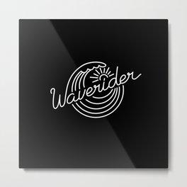 Waverider - white on black Metal Print