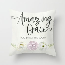 Amazing Grace Art Poster with Watercolor Florals Throw Pillow