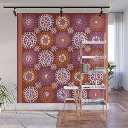 Flower Doodles Russet/Orange, circles and flower pattern Wall Mural
