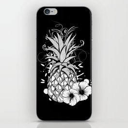 Pineapple with hibiscus blossom iPhone Skin