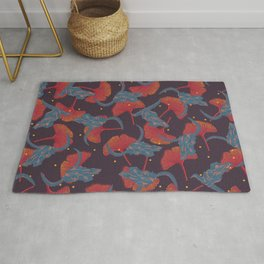 Ginkgo & Skulls (blue and orange version) Rug