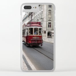 Red Trams of Lisbon Clear iPhone Case
