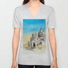 Basilica Sacre Coeur Montmartre Paris Unisex V-Neck