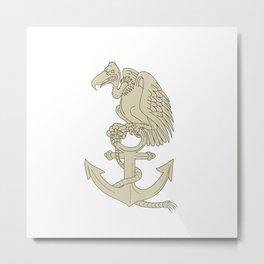 Buzzard Perching Navy Anchor Cartoon Metal Print
