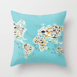 Cartoon animal world map for children and kids, Animals from all over the world Throw Pillow