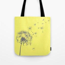 Bright Sunny Yellow + Gray Dandelion Tote Bag