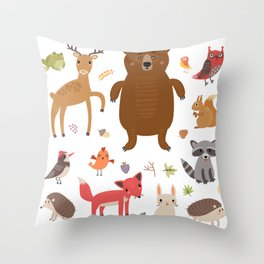 Forest Critters Throw Pillow