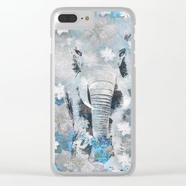 ELEPHANT AND FLOWERS Clear iPhone Case
