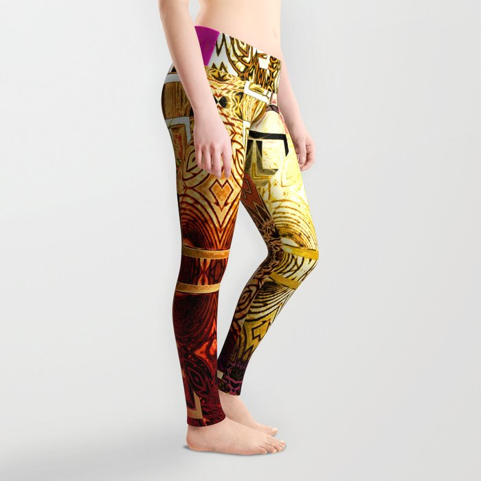 1001 Lights Pattern (gold-magenta-vermillion) Leggings