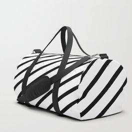 Stripes Diagonal Black White Minimal Design Duffle Bag