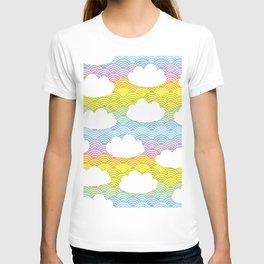Kawaii white clouds and rainbow sky T-shirt