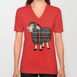 Faded Johnston Tartan Sheep Unisex V-Neck