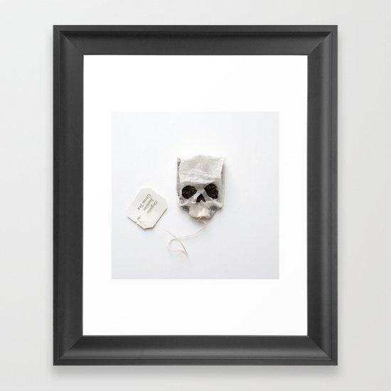 253. Tea Bag Skull Framed Art Print