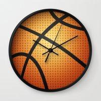 basketball Wall Clocks featuring Basketball by Debra Ulrich