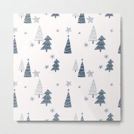 Hand Drawn Winter Forest Metal Print