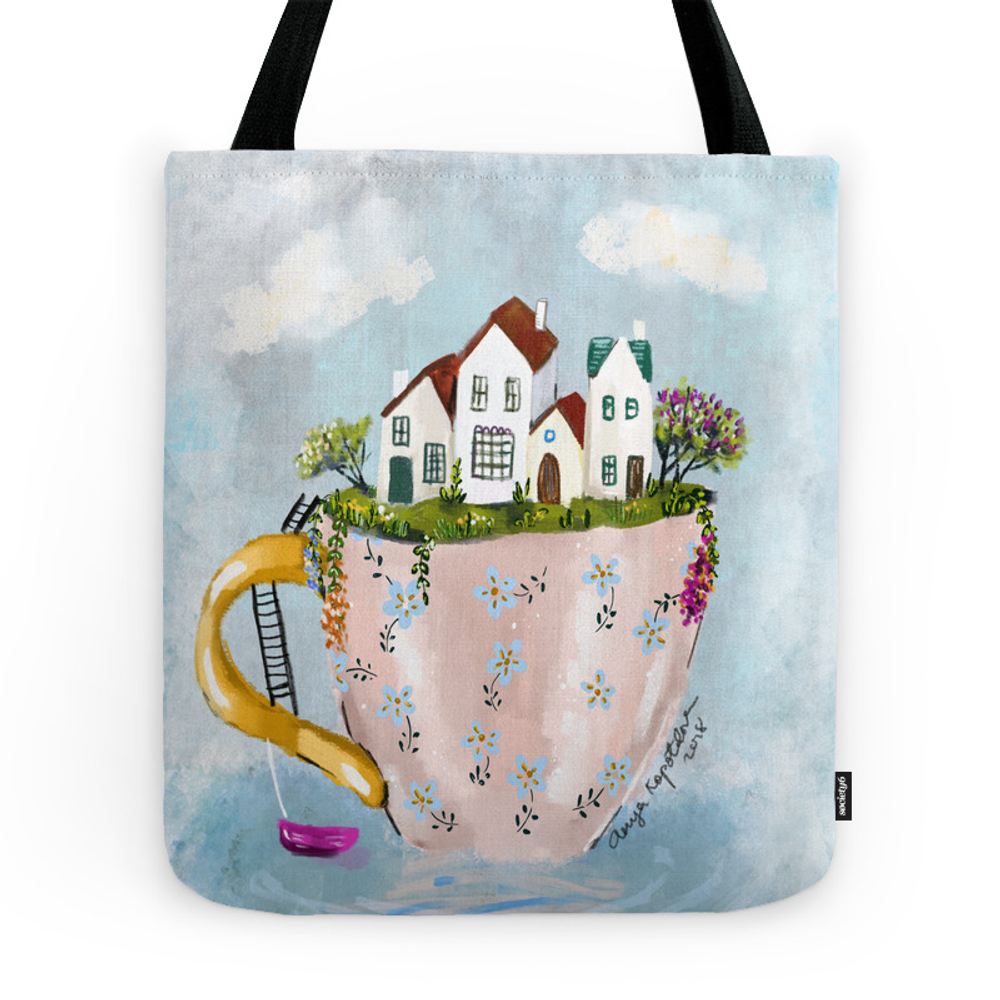Pink Cup Island Tote Purse by greenrainart (TBG9180410) photo