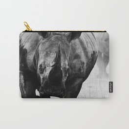 Charging Black Rhino (Diceros Bicornis also known as Hook-lipped Rhino) -  Rhinoceros Species Native to Eastern and Southern Africa- Animal Artwork - Black and White - Amazing Oil painting - Carry-All Pouch