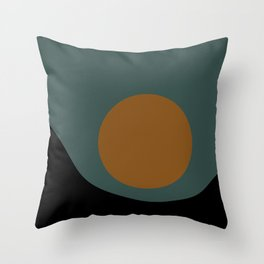 Sun / Moon Minimalism - Teal & Orange Throw Pillow