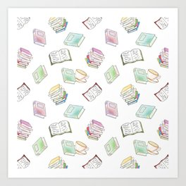 Book Nerd! Watercolor Pattern Illustration of Books & Tea Art Print