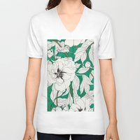 peonies V-neck T-shirts featuring green peonies by Marcella Wylie