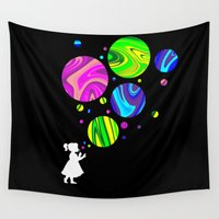 bubbles Wall Tapestries featuring Bubbles by Finlay McNevin