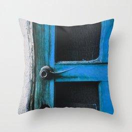 closeup old blue vintage wood door texture background Throw Pillow