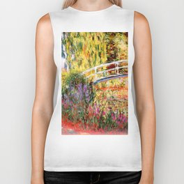 "Claude Monet ""Water lily pond, water irises"" Biker Tank"