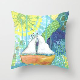 Sailboat Painting, Child's Room Decor, Sailing Art, Lake Art, Blue, Green, Yellow, Orange, Nautical Throw Pillow