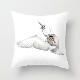 Bad Ass Squirrel & Unicorn Swan Throw Pillow