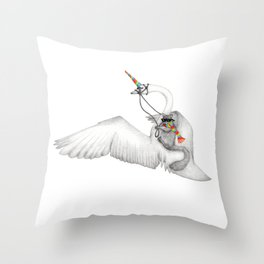 Bad Ass Squirrel & Unicorn Swan Throw Pillow