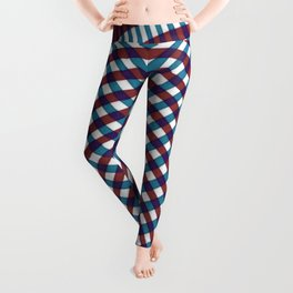 Blue and red stripes tartan Leggings