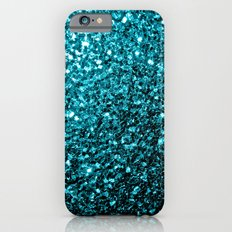 Beautiful Aqua blue glitter sparkles Slim Case iPhone 6