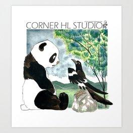 Panda meets Magpie Art Print
