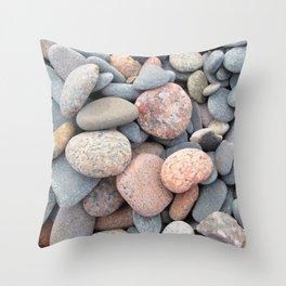 Watercolor Rock, Pebbles 05, Cape Breton, Nova Scotia, Canada, No Worries Here Throw Pillow