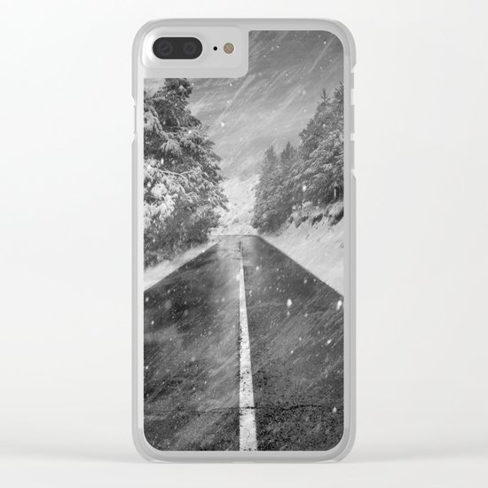 """""""Snowstorm in the road"""" At the mountains Clear iPhone Case"""