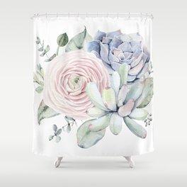 Succulent Blooms Shower Curtain